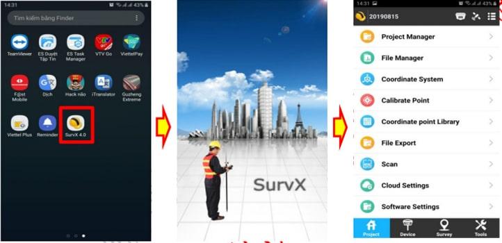 Khởi động phần mềm SurvX 4.0