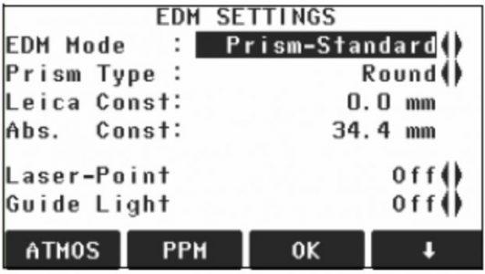 Màn hình EDM Settings máy Leica Flexline TS02
