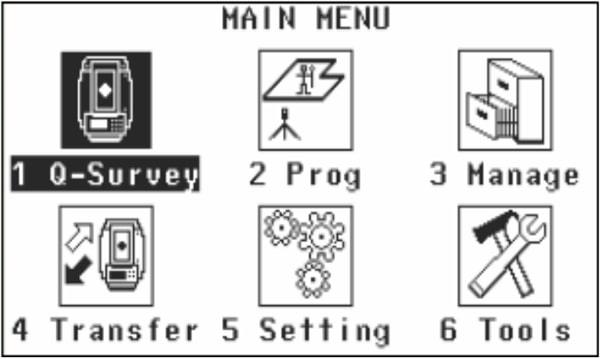 Màn hình main menu leica flexline ts02
